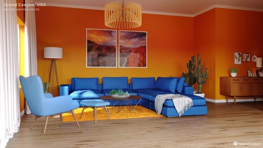 orange and blue living room ideas,blue corner sofa living room,orange walls blue sofa,contemporary colors for living room,nature inspired colors living room design,