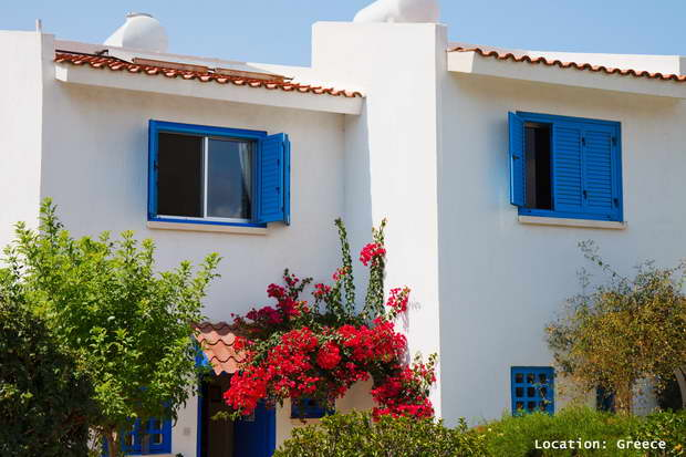Greece, Greek Architecture, Mediterranean Architecture, Mediterranean Style, White Color, Blue Color, White Color House, Blue Window Shades