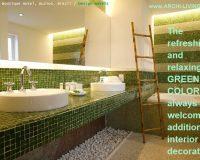 green color bathroom design,green mosaic tiles bathroom,green and white interior design,hotel bathroom design,interior decorating theme green,