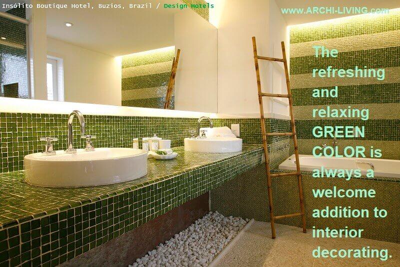 green mosaic tiles bathroom,green and white interior design,green color bathroom design,hotel bathroom design,interior decorating theme green,