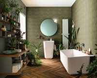 interior decorating theme green,greenery in bathroom,green and white interior design,green color bathroom design,potted plants bathroom,
