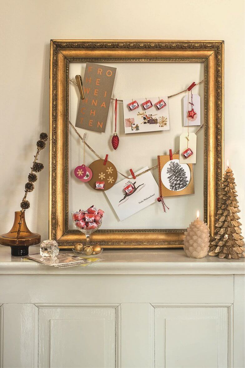 creative holiday decorating ideas for mantels,mini holiday figurines,luxury painting frames as decor,gold decor ideas living room,holiday greeting cards images,