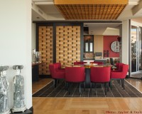 oriental style room screen divider,eclectic dining room decor,red dining chairs with arms,interior designers in florida,interior design project,