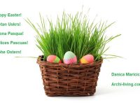 happy Easter wishing,Easter wishes in many languages,Easter basket with grass,colorful Easter eggs in basket,happy Easter to all of you,
