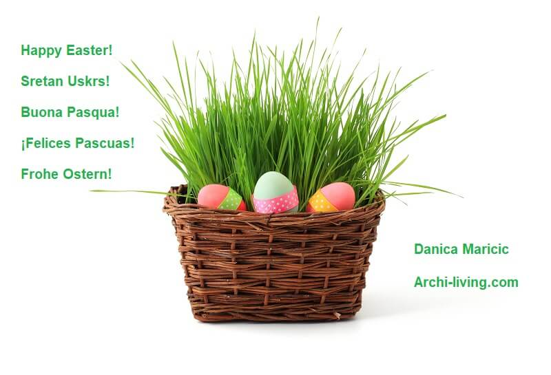happy Easter to all of you,happy Easter wishing,Easter wishes in many languages,Easter basket with grass,colorful Easter eggs in basket,