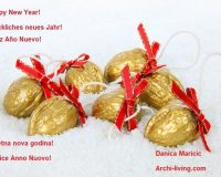 wishing a Happy New Year,Happy New Year message in many languages,gold walnuts images,red white gold decor,golden holiday decorations images,