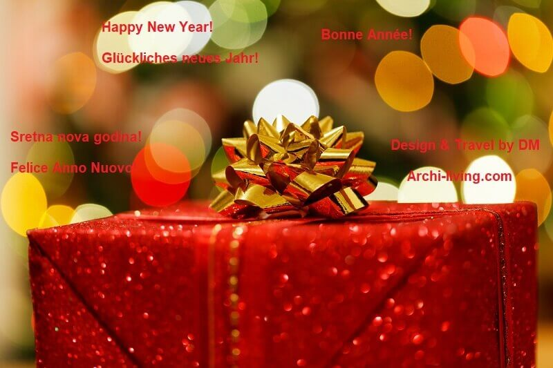 Happy New Year wishes in different languages,New Years eve decorations themes,Happy New Year gift ideas,red gift box with gold bow,creative wishing card for New Year,