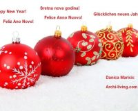 New Year Greetings,saying Happy New Year in many languages,five red tree baubles images,red and white holiday decor,holiday wishes images,