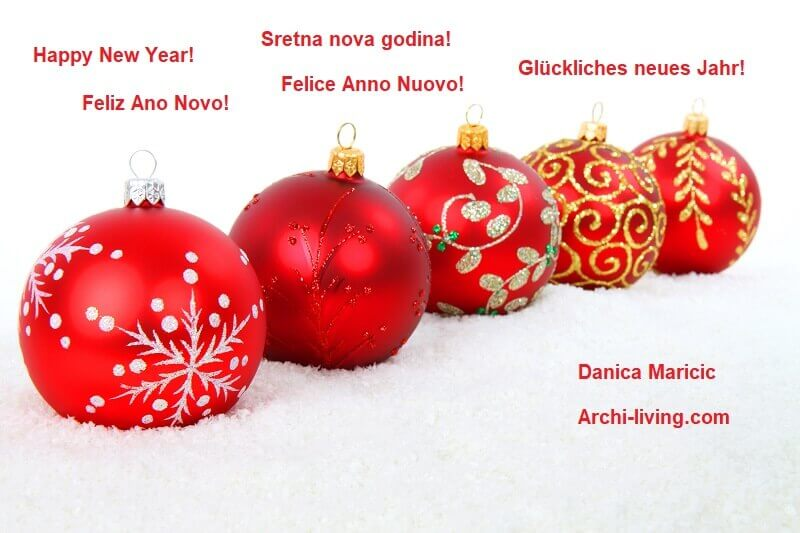 ways of saying Happy New Year in different languages,greeting card Happy New Year,creative wishing card for New Year,red and white holiday decor,red gold silver tree baubles,