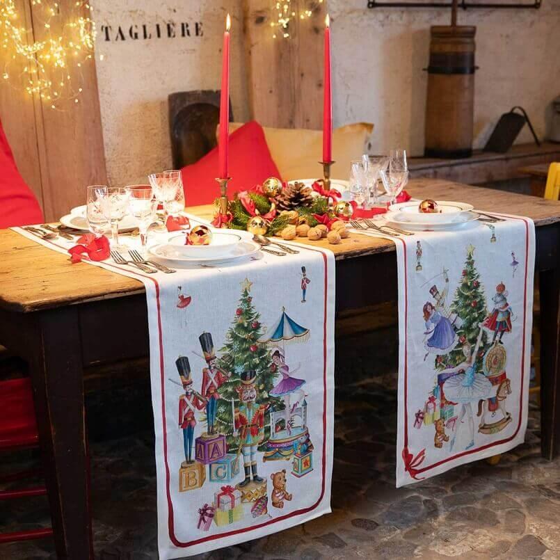 nutcracker themed Christmas decor,nutcracker theme table setting,nutcracker table runners,festive Christmas table runners,holiday table runner design,