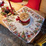 nutcracker themed Christmas decor,nutcracker theme table setting,nutcracker tablecloth,festive Christmas tablecloth,holiday tablecloth design,