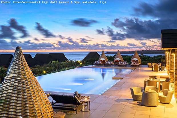 romantic sunset,intercontinental hotels fiji golf resort & spa,swimming pool dinner,travel for couples,outdoor furniture design,