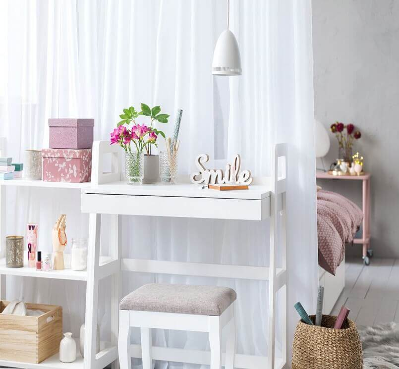 feminine home office design ideas,white and pink home décor,small home office ideas for her,small home office ideas in bedroom,how to separate home office from bedroom,