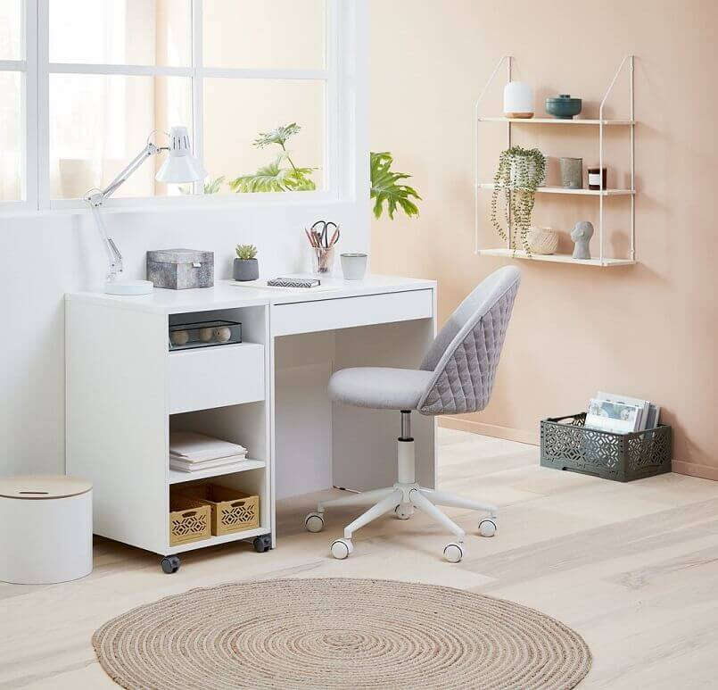 how to create a productive workspace at home,jysk uredske stolice,home office ideas for small spaces,home office with white desk,white office desk with drawers and shelves,