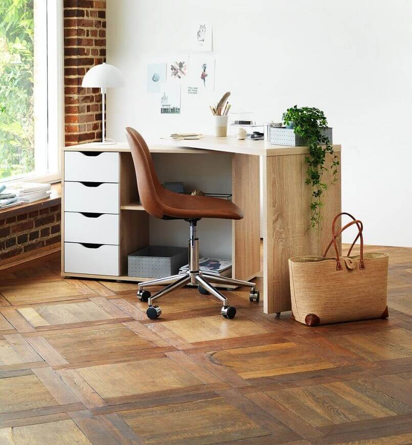 home office by the window,home office ideas in neutral colors,folding wooden desk table,wooden home office desk with drawers,natural light in home office,
