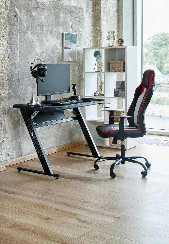 masculine home office design,home office design for video conferencing,gaming room ideas,gaming office chair,black home office furniture,
