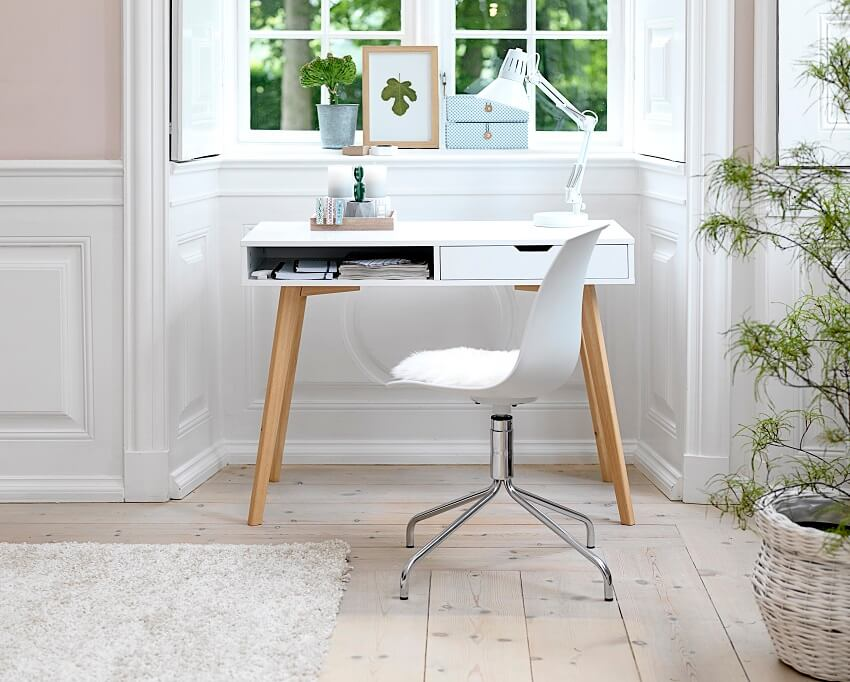 how to design home office space,white work desk with drawers,white desk with wooden legs,home office ideas for small spaces,home office with white desk,