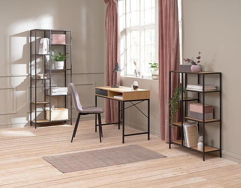 work desk in front of window,large home office design ideas,feminine home office decorating ideas,shelving units home office,desk and shelves for home office,
