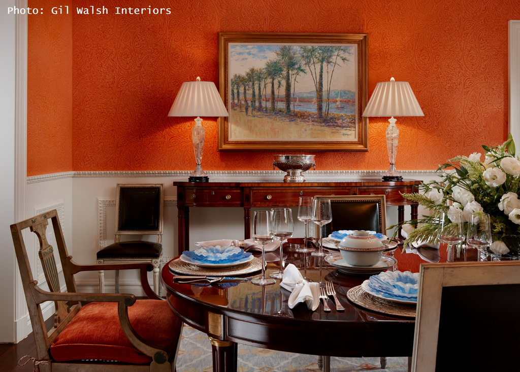 dining room decorations,table setting ideas,orange walls,classic furniture,classic furniture ideas,Gil Walsh Interiors,Palm Beach Regency villa,dining room design,dining room furniture,luxury dining room design,luxury dining room,table design ideas,dining chairs,dining furniture,dining room,dining table,restaurants,restaurant design,dining room furniture,restaurant furniture,luxury restaurant design,restaurant design ideas,high end restaurant design,modern restaurant design,