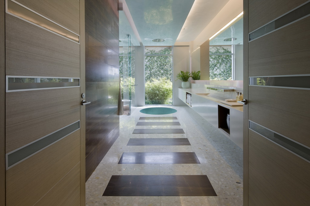 bathroom with garden view,luxury bathroom design ideas,small swimming pool in bathroom,contemporary high end furniture,interior designers in usa,