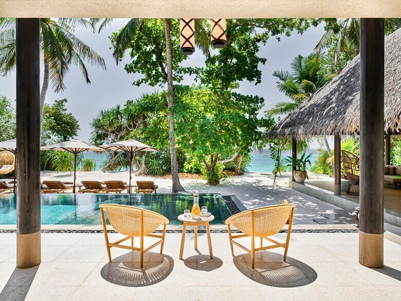 joali maldives beach villa with pool,kettal outdoor basket chair,best luxury resorts maldives,romantic holidays for couples,most romantic honeymoon destinations,