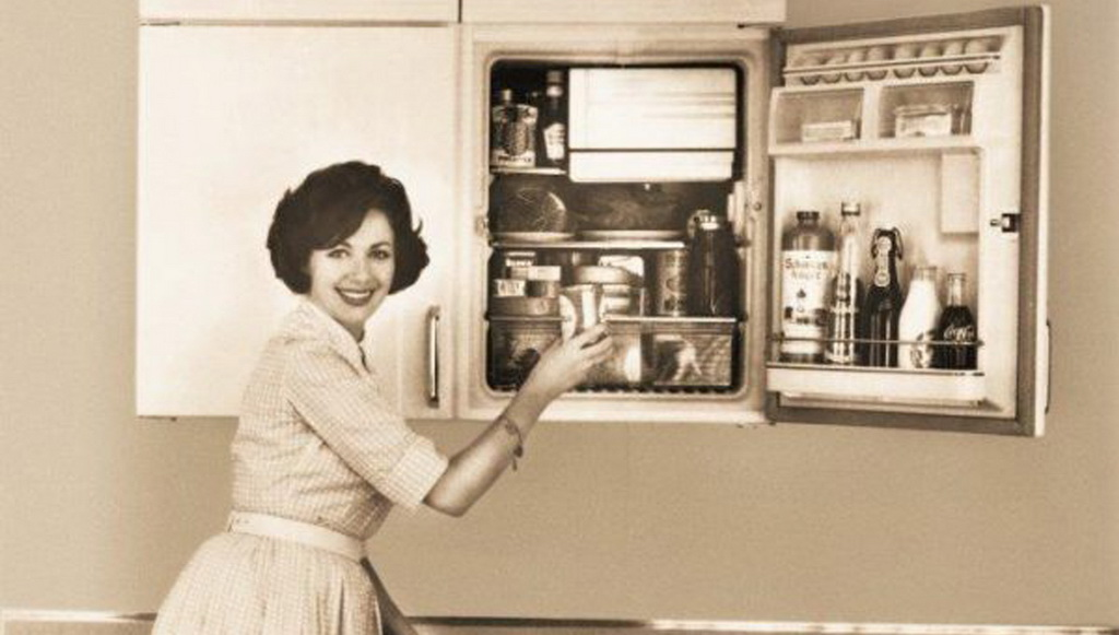 how food was stored in the past,woman opening the fridge,fridge history,fridge upper cabinet,kitchen appliances history,