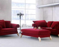 red velvet living room furniture,red sofa covers,stylish living room ideas,red seating furniture room ideas,large windows living room,