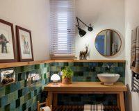 handmade ceramic tile bathroom,bathroom wooden furniture,green tiles wooden furniture,small bathroom ideas modern,ofist design studio,