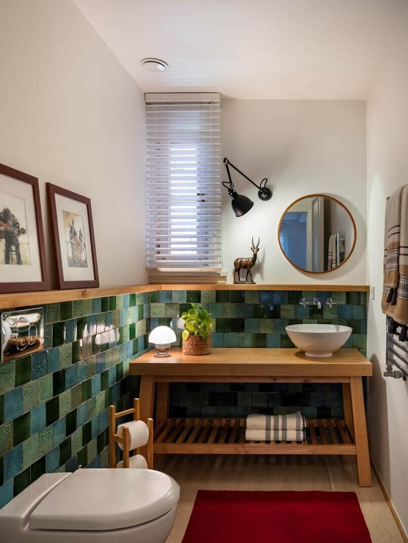 green tiles wooden furniture,small bathroom ideas modern,ofist design studio,handmade ceramic tile bathroom,bathroom wooden furniture,