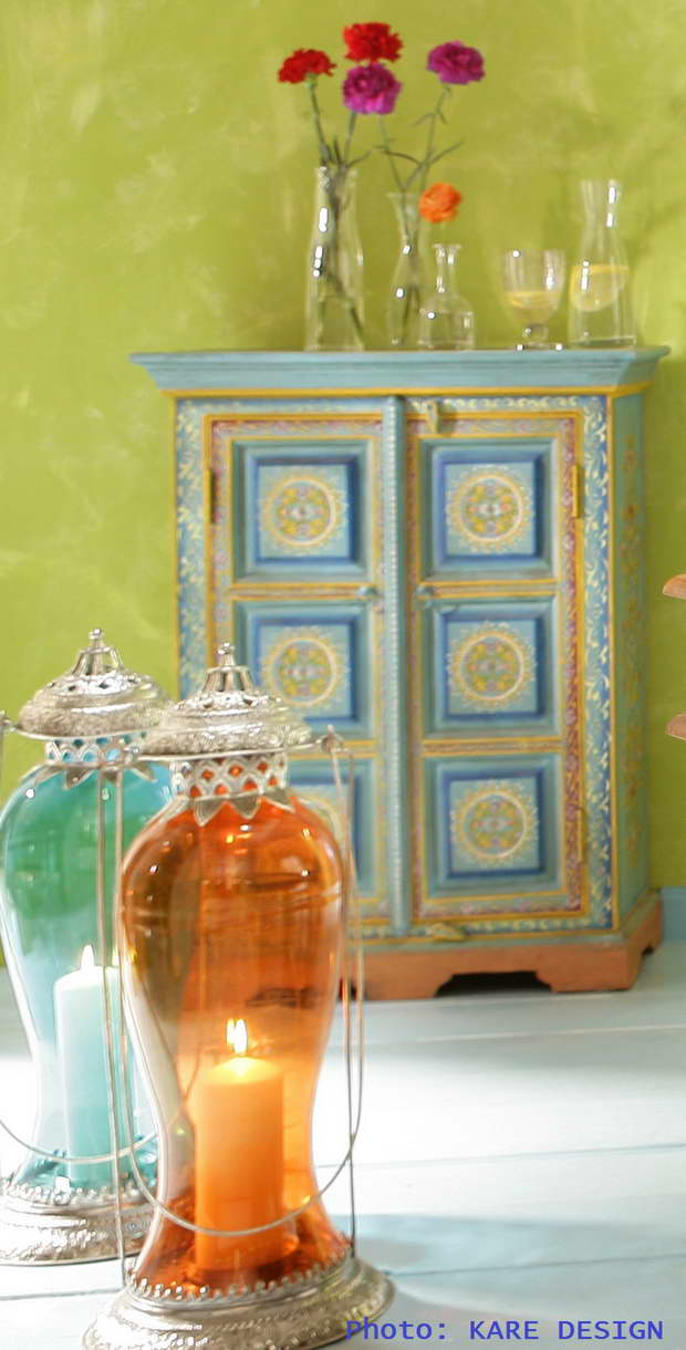 Blue Color, Orange Color, Complementary Colors, Green Color, Colorful, Colorful Furniture, Lighting Design, Moroccan Lanterns