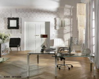 black and white office decorating ideas,luxury office design,metal glass office desk,chandelier in home office,wallpaper for office walls,
