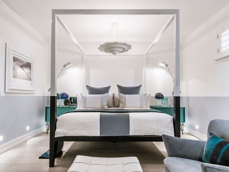 kelly hoppen bedroom images,celebrity interior designers,luxury bedroom canopy bed,gray white green bedroom,designer green bedside ideas,