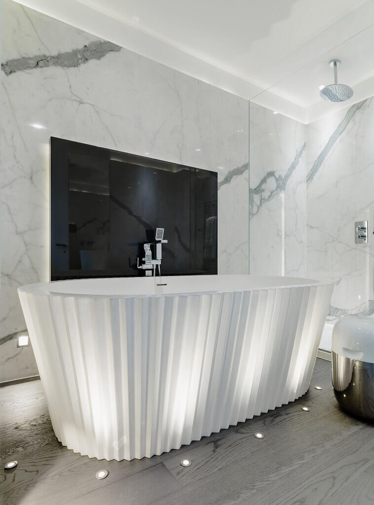 luxury bathroom design,freestanding tub ideas,kelly hoppen home design,celebrity interior designers,how to decorate like a designer,