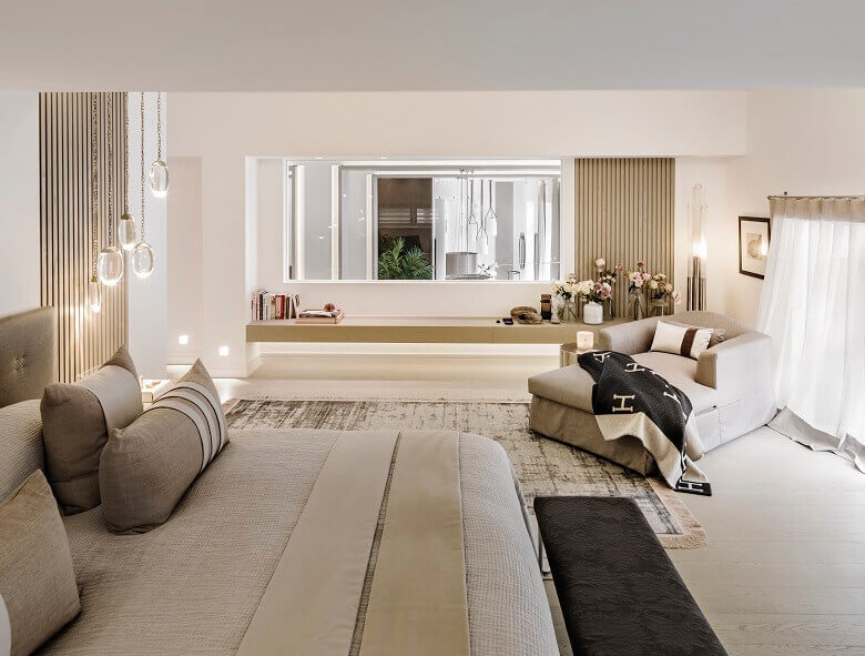 kelly hoppen bedroom images,how to decorate like a designer,bedroom decor ideas,chaise longue sofa bed,neutral tones colors bedroom design,