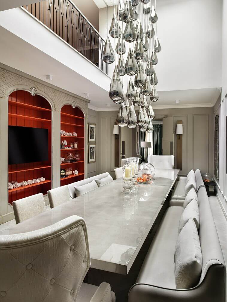 kelly hoppen dining room,white gray and red dining room ideas,luxury dining room design,luxury chandelier dining room,neutral color palette interior design,