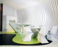 karim rashid kitchen design,white green interior design,designer kitchen ideas,white dining chairs,green kitchen flooring,