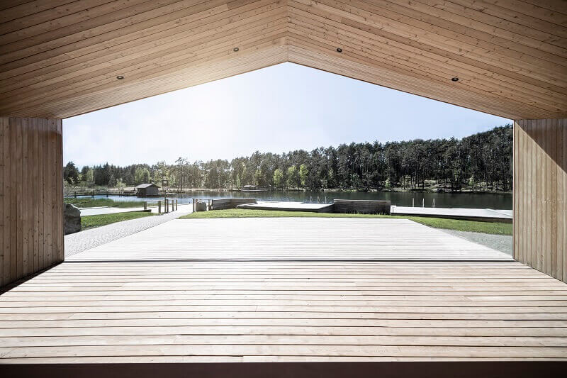 modern wood architecture by the lake,völser weiher baden,recreational facilities south tyrol,lake wooden house,noa architetti,