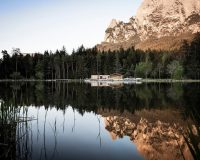 modern lake house architecture,lago völser weiher,south tyrol lake recreation,recreational facilities architecture,studio noa network of architecture,