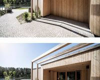 lake house south tyrol italy,wooden facade architecture,contemporary wooden architecture,larch wood facade,wood frame construction house,