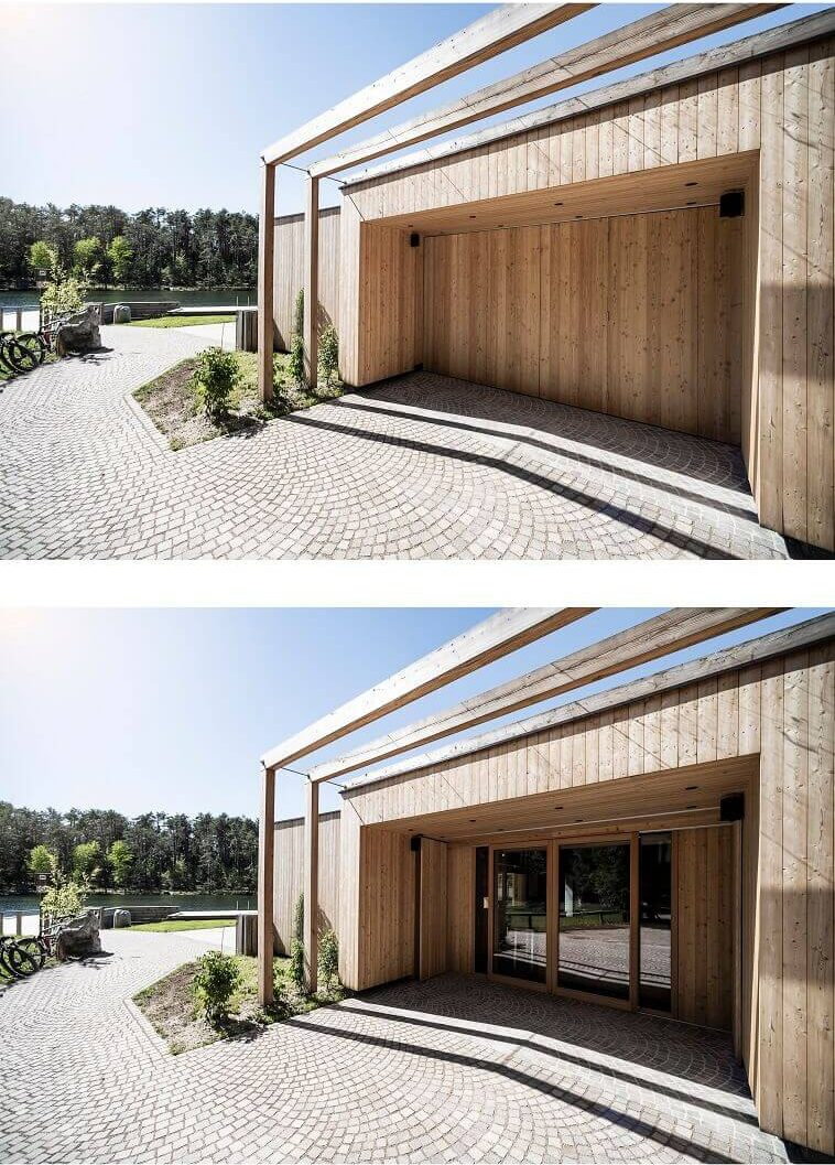 wooden facade architecture,contemporary wooden architecture,larch wood facade,wood frame construction house,lake house south tyrol italy,