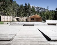 völser weiher baden,recreational facilities south tyrol,lake wooden house,noa architetti,modern wood architecture by the lake,