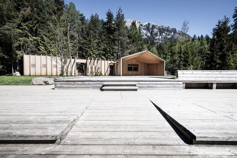 lake house south tyrol italy,contemporary wooden architecture,wooden facade architecture,larch wood facade,wood frame construction house,