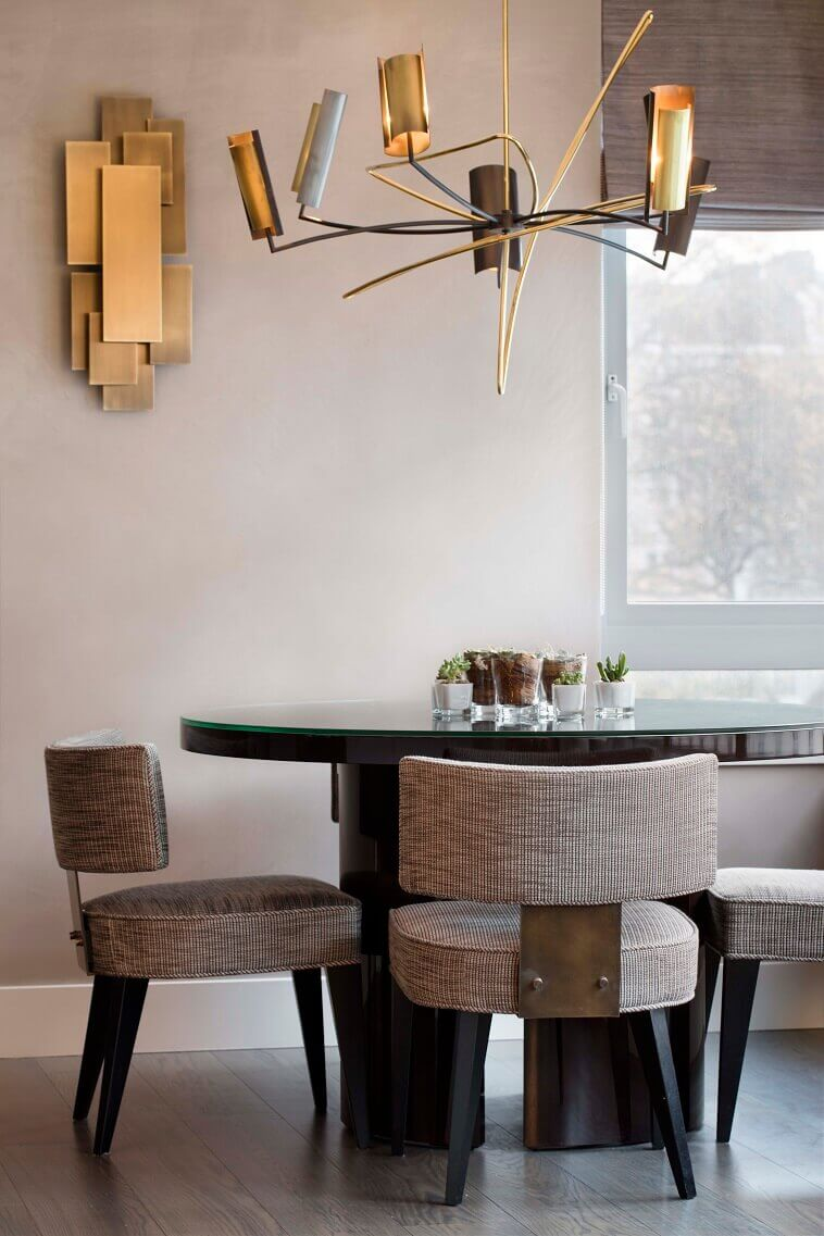 gold ceiling lights dining area,modern luxury dining room lighting,fabric upholstered dining chairs uk,brown black white dining room ideas,luxury apartments belgravia london,