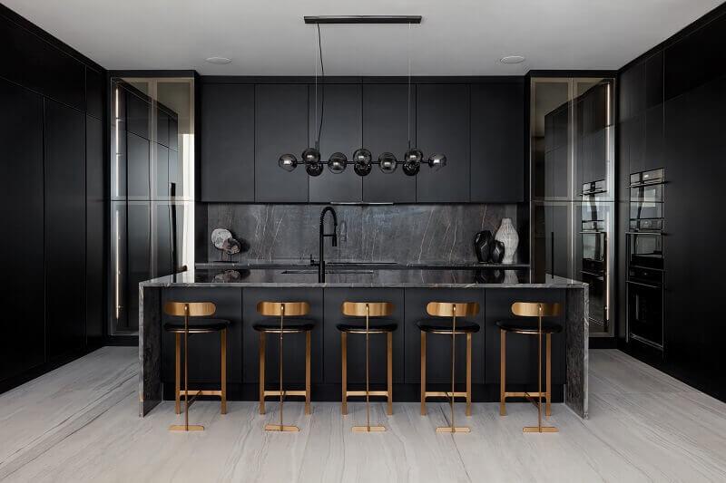 black kitchen design modern,copper kitchen island stools,black kitchen island with seating,dark neutral colors kitchen cabinets,tall kitchen wall cabinets,