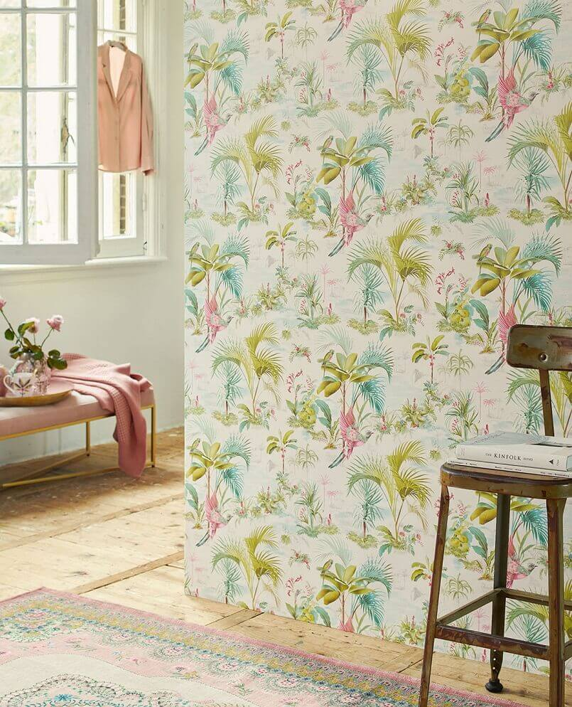 global style wallpaper,pastel colors in interior design,colorful bedroom wallpaper,pink green blue bedroom,how to decorate your room,