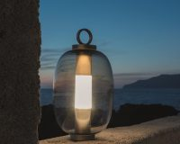 ethimo outdoor lighting,luca nichetto lamp,portable led lamp rechargeable,outdoor table lamp battery operated,mobile garden lights,