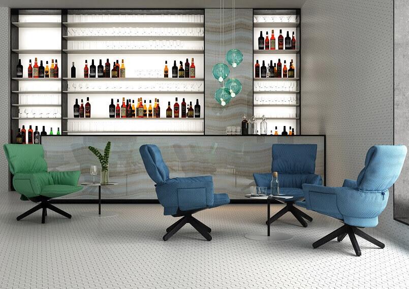awarded armchair design,ludo lounge chair,good design award winners,blue and green armchairs,lounge bar interior design ideas,