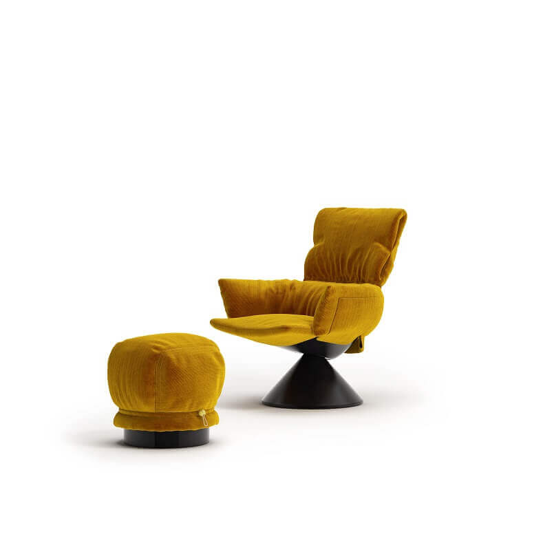 armchair and footstool yellow,patricia urquiola furniture designer,awarded lounge furniture design,cappellini furniture italy,yellow armchair living room,