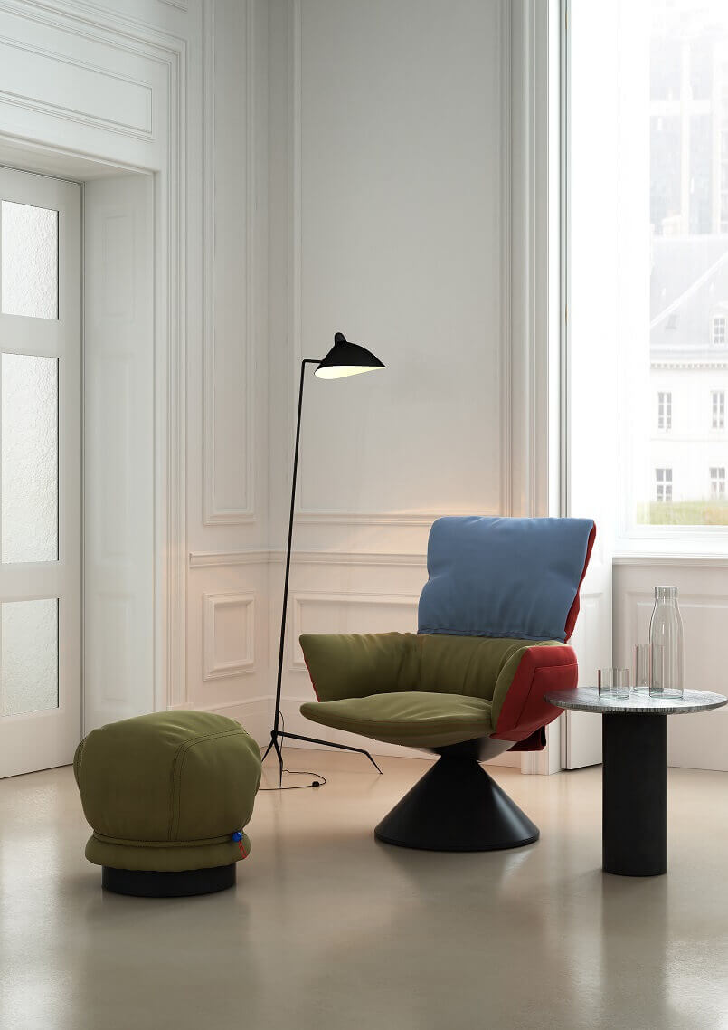 awarded lounge furniture design ideas,blue and green armchair,green footstool pouffe,patricia urquiola furniture design,cappellini furniture italy,
