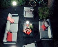 tristan lohner fermob,outdoor living space lighting,outdoor floor lights modern,red and grey living room decorating ideas,french garden furniture company,